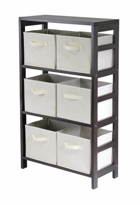 Winsome Wood Sturdy Capri Wooden Three Tier Storage Shelf with 6 Baskets