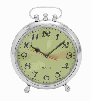 Sturdy Classic Aluminium Clock with Stable Base and Alarm Brand Woodland