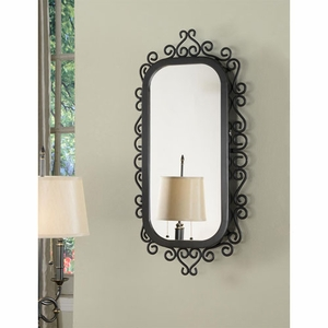Sturdy Construction Mirror Wall Armoire with Lock in Black Finish Brand Nathan