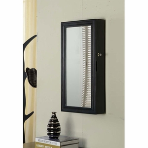 Sturdy Construction Wall Armoire with Lock and Mirror in Black Brand Nathan