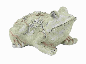 Sturdy Fiber Glass Garden Frog Cream Shade & Intricate Design Brand Woodland