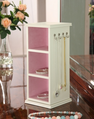 Sturdy Hudson Jewelry Tower with Three Compartments in White Brand Nathan