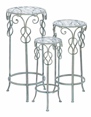 Sturdy Metal Plant Stand with Silvery White Finish - Set of 3 Brand Woodland
