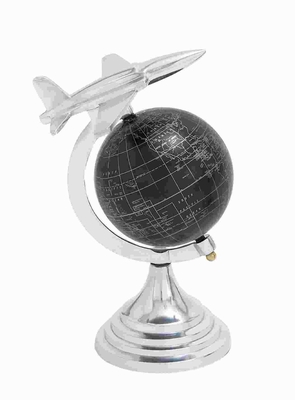 Aluminium Globe With Airplane Axis Design - 28350 by Benzara