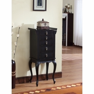 Sturdy Ningbo Chinese 4 Drawer Jewelry Armoire in Black Brand Nathan