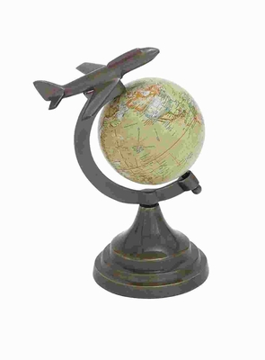 Sturdy Round Base Bronze Globe with Metal Aircraft on Top Brand Woodland