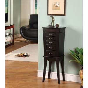 Sturdy Slim Eiffel Tower 5 Drawer Jewelry Armoire in Black Brand Nathan