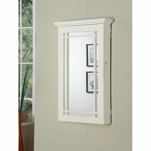 Sturdy White Wall Armoire with Lock and Mirror On Front Brand Nathan