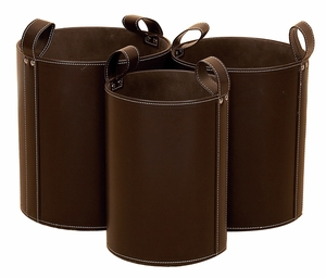 Sturdy Wood Leather Trash in Dark Brown Finish - Set of 3 Brand Woodland