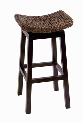 Sturdy Wood Woven Stool in Brown Finish with Simple Design Brand Woodland