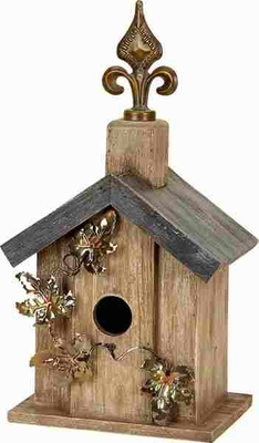 Sturdy Wooden Birdhouse Decor with Gold and Brown Finish Brand Woodland
