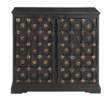Sturdy Wooden Cabinet in Dark Antique Finish with Two Doors Brand Woodland