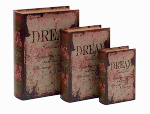 Sturdy Wooden Leather Book Box with Vintage Design (Set of 3) Brand Woodland