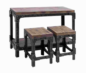 Sturdy Wooden Table Stool with Detailed Design and Rich Finish Brand Woodland
