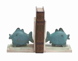 Stuttgart Bookend Pair Fish Modeled Mesmeric Creation Brand Benzara