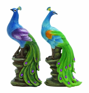 "Stylish 15"" Polystone Peacocks with Beautiful Blend of Colors Brand Woodland"