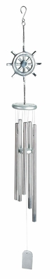 Stylish Aluminum Wind Chime in Silver Finish with Unique Design Brand Woodland