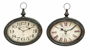 Stylish and Durable Assorted Metal Wall Clock - Set of 2 Brand Woodland