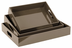 Stylish and Modish Wooden Grey Colored Trays by Urban Trends Collection