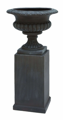 Stylish and Trendy Fiber Stone Urn in Black Color - Set of 2 Brand Woodland