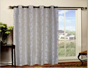 Stylish Bamboo Leaves Themed Organza Flocking Panel Curtain Brand Kashi