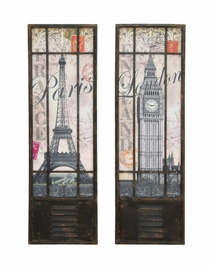 Stylish London And Paris Tourist Destinations Wall Art Decor Brand Woodland