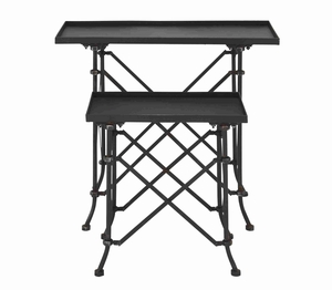 Stylish Metal Accent Table with Multi Hook Facility Set of 2 Brand Woodland