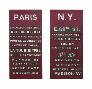 Stylish New York And Paris Tourist Destinations Wall Art Decor Brand Woodland