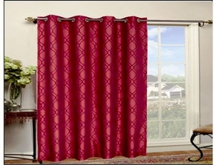 Stylish Shimmering Red Flocking Faux Silk Panel Curtain With Grommet Rings Brand Kashi