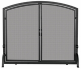 Stylish Single Panel Black Wrought Iron Screen With Doors- Medium