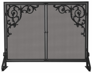Stylish Single Panel Olde World Iron Screen w/ Doors & Cast Scroll