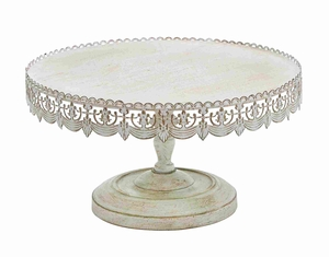 Stylish & Strong Metal Cake Stand with Soft White Polish Brand Woodland