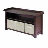 Stylish Verona Storage Bench With 3 Fabric Basket by Winsome Woods