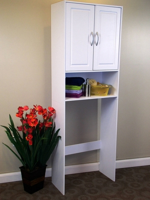 Stylish White Double Door Space Saver with Comfortable Handle by 4D Concepts