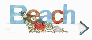 Stylish Wood Beach Sign in Marine Theme with Net and Marine Life Brand Woodland