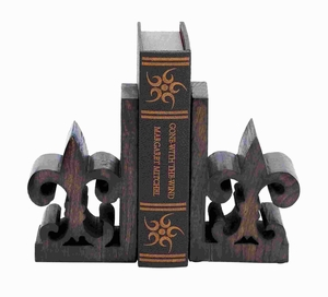 Stylish Wood Book End Pair with Bold Fleur De Lis Motif Brand Woodland
