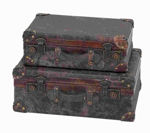Stylish Wood Leather Case Flaunting antique Styling (Set of 2) Brand Woodland