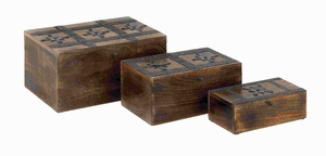 Stylish Wood Metal Box Detailed with Dark Finished Metal Accents Brand Woodland
