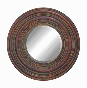 Stylish Wood Wall Circular Shaped Mirror with Weathered Finish Brand Woodland