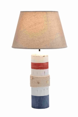 Stylish White Wooden Buoy Table Lamp With Red And Blue Band - 28750 by Benzara