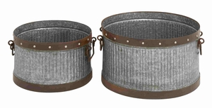 Suceava Galvanized Bucket Set Artistically Radiant Creation Brand Benzara