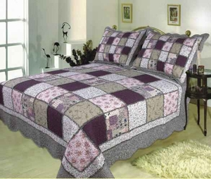 Sugar Plum handmade quilt with bold patchwork design super king size 118 x 102 Brand Elegant Decor