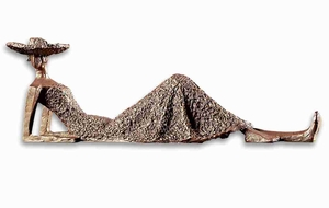 Summer Days Lounging Figurine In Textured Antique Bronze Brand Uttermost