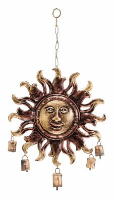 Sun Face Metal Wind Chimes Garden Decor with 5 Metallic Bells Brand Woodland