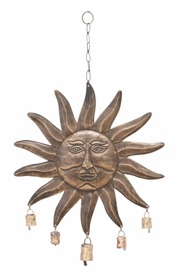 Sun Face Wind Chime With Five Small Bells Brand Woodland
