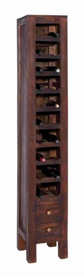 Stately Wood Mahogany Wine Rack With Two Pullout Drawers At The Base - 38344 by Benzara