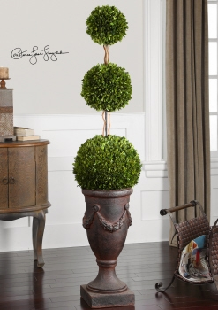Superb Preserved Boxwood Triple Topiary Exhibits Passion For Nature Brand Uttermost