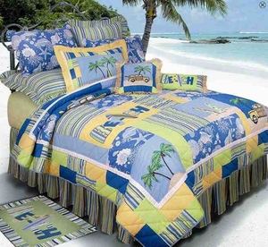 Surfers Bay Beach Island Decor Quilt Luxury Queen  Bedding Ensembles Brand C&F