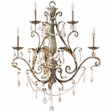 Swag Collection Classy 6 Light Chandelier without shade in Caribbean Gold by Yosemite Home Decor