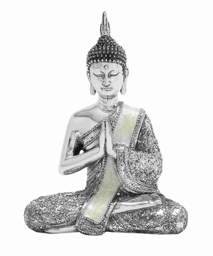 Poly Stone Sitting Buddha Assorted with Silver Finish - 44236 by Benzara